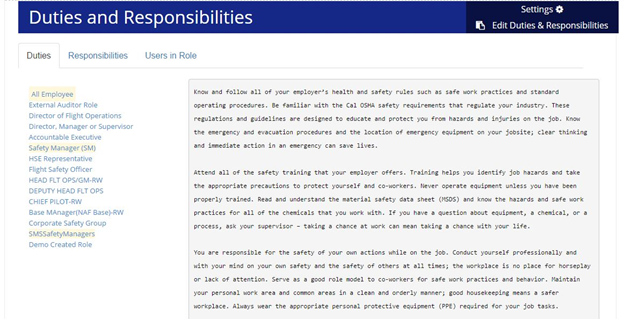 Duties and Responsibilities Module